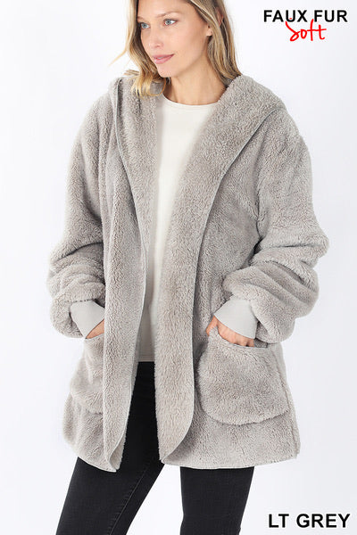 Zenana Hooded Faux Fur Jacket w/Pockets
