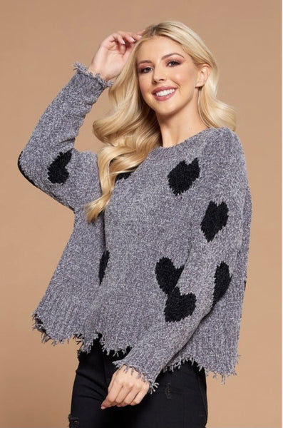Heart Shape detailed distressed sweater