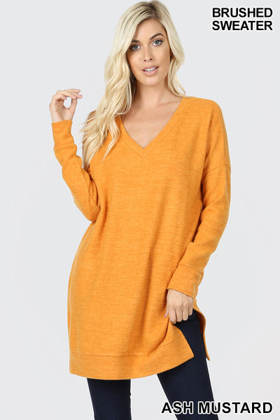 Zenana ash mustard  tunic sweater