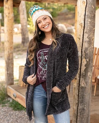 Grace & Lace Chenille cardigan Carbon color