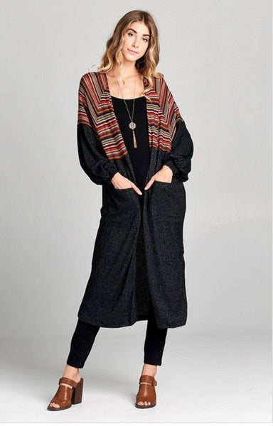Charcoal multi stripe duster