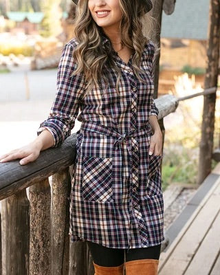 Stretch Flex Flannel Plaid Dress