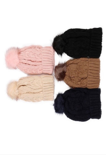 Winter hats cableknit fleece with matching pom