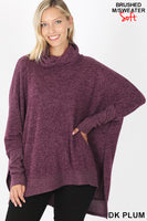 Zenana Brushed Melange Cowl Neck Poncho