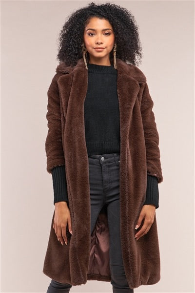 Brown faux fur duster coat