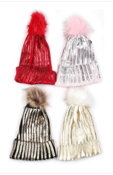 Winter hats with stripe sparkle