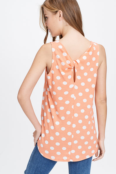 White Birch coral polka dot sleeveless tp