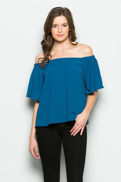 CY Teal off the shoulder top