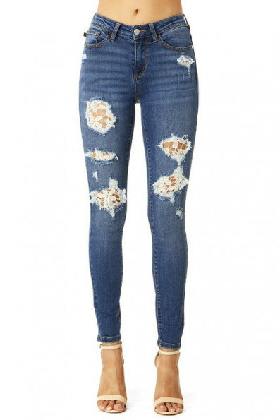 Judy Blue Lace Patch Skinny Jeans