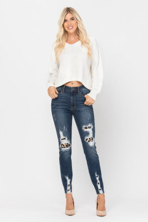Judy Blue High Waist Leopard Patch Skinny