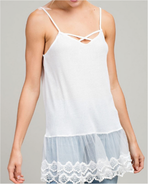 White crossover tank with lace detailing