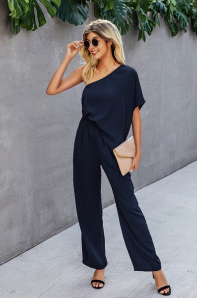 Navy off the shoulder Wide Leg Jumpsuit