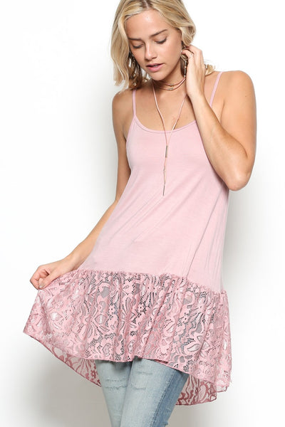 Light weight tunic camisole with spaghetti straps and laced hem