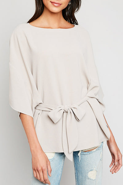 Sara short sleeve front tie blouse