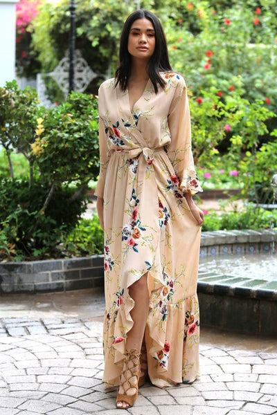Taupe floral print faux wrap dress