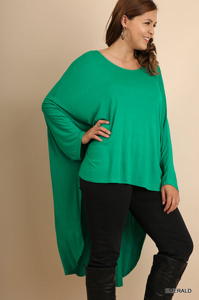 Long Sleeve Scoop Neck Batwing Top with Hi-Lo Scalloped Hem