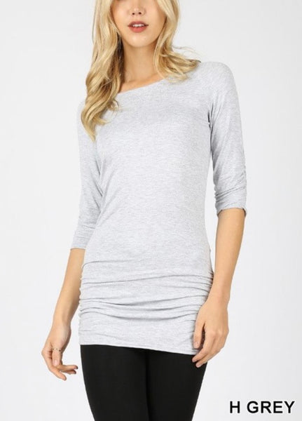 3/4 sleeve cinch tunic top