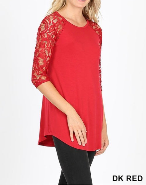 Lace half sleeve round neck top