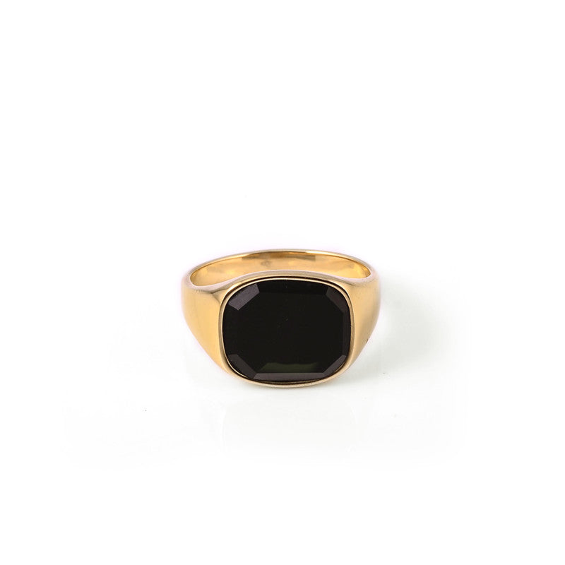 A.Kjaerbede 316 Stainless Steel Ring Himsel - Gold / Black Onyx Stone