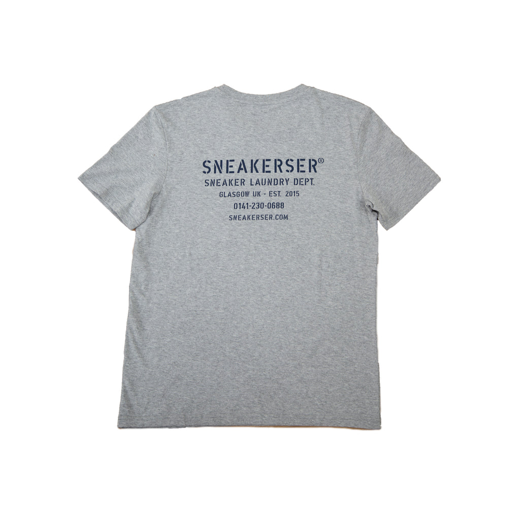 Sneaker Laundry Glasgow Organic T-Shirt - Heather Grey / Navy