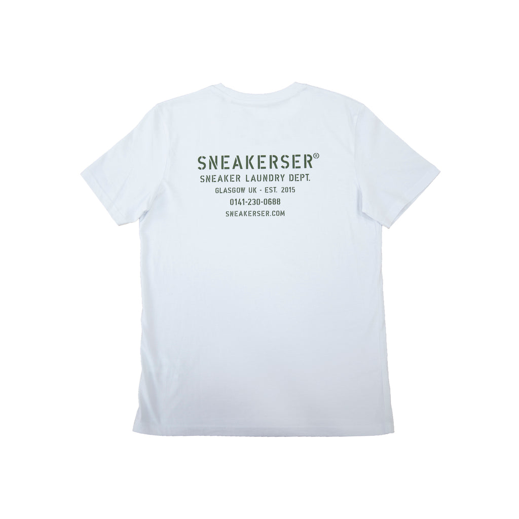 Sneaker Laundry Glasgow Military T Shirt - White / Olive Green