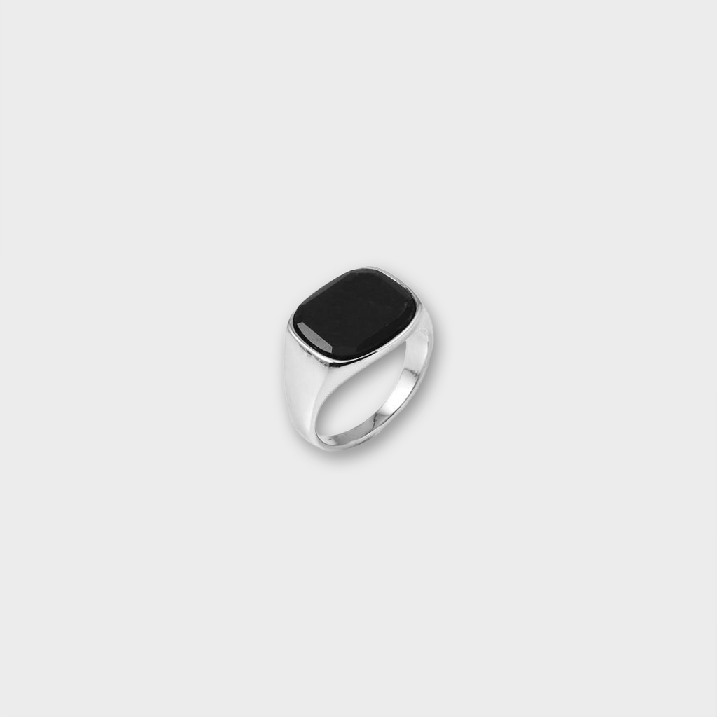 A.Kjaerbede 316 Stainless Steel Ring Himsel - Silver / Black Onyx Stone
