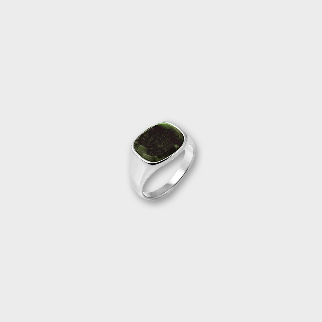 A.Kjaerbede 316 Stainless Steel Ring Himsel - Silver / Green Marble Stone
