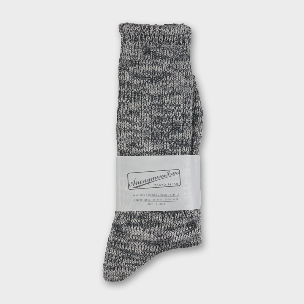 Anonymous Ism Japan Five Colour Mix Crew Socks - Grey