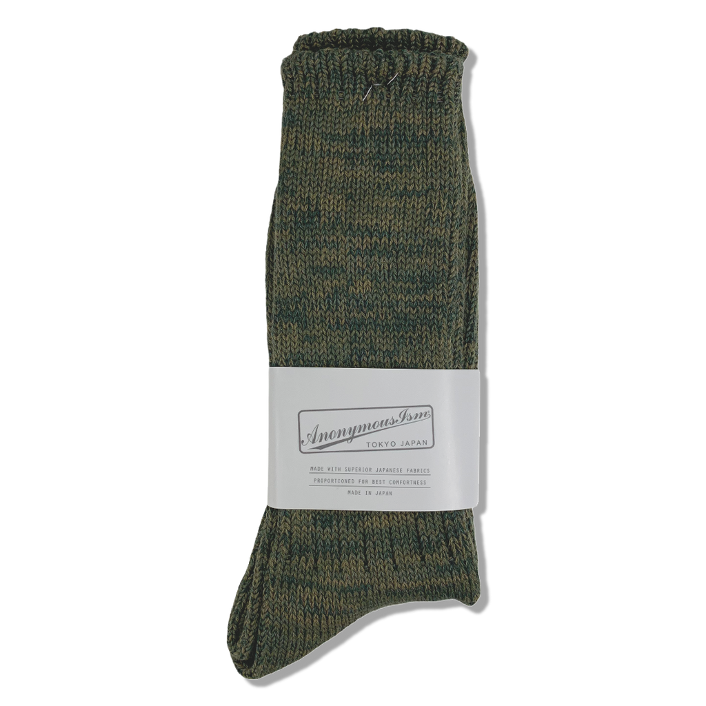 Anonymous Ism Japan Five Colour Mix Crew Socks - Olive
