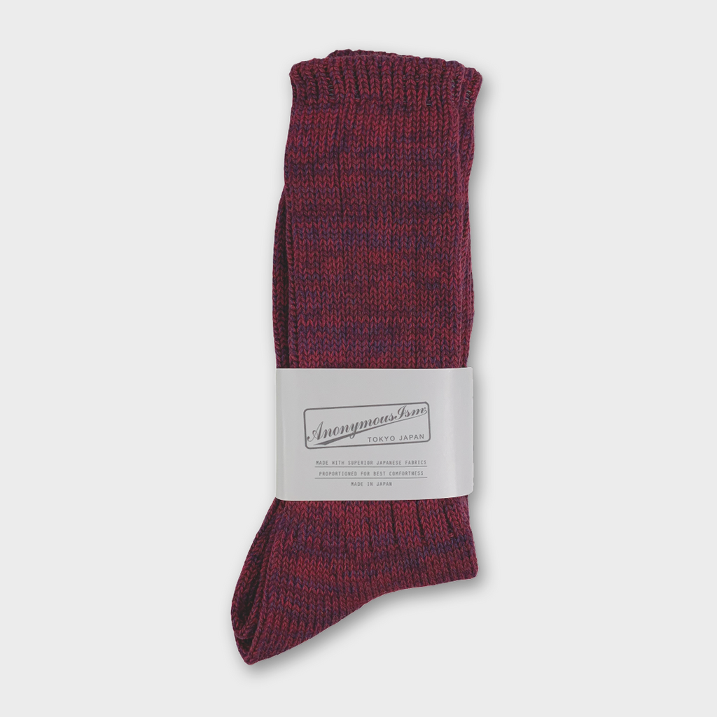 Anonymous Ism Japan Five Colour Mix Crew Socks - Wine