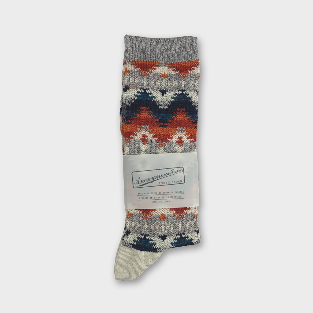 Anonymous Ism Japan Cotton Blend Jacquard Socks - Grey