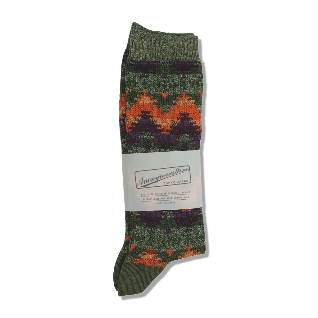 Anonymous Ism Japan Cotton Blend Jacquard Socks - Khaki