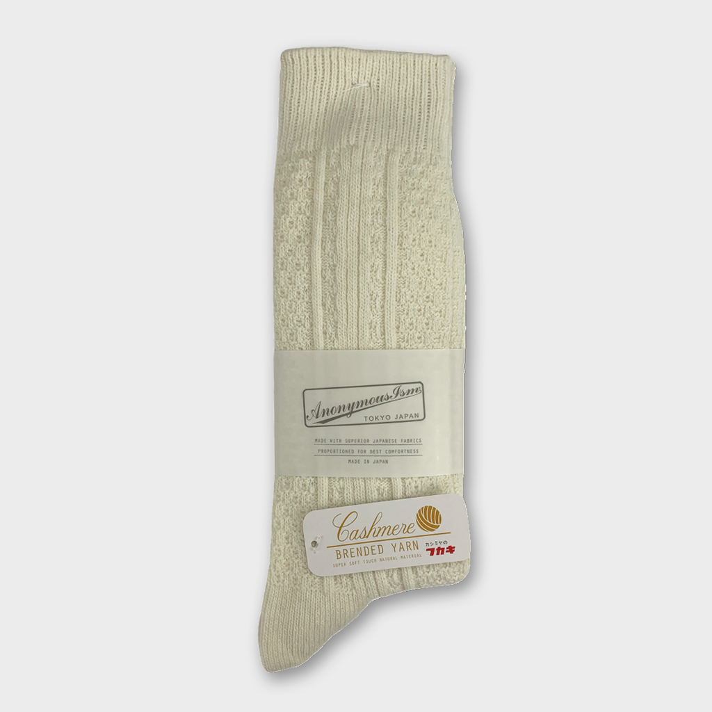 Anonymous Ism Japan Links Crew Cashmere Socks - Off white