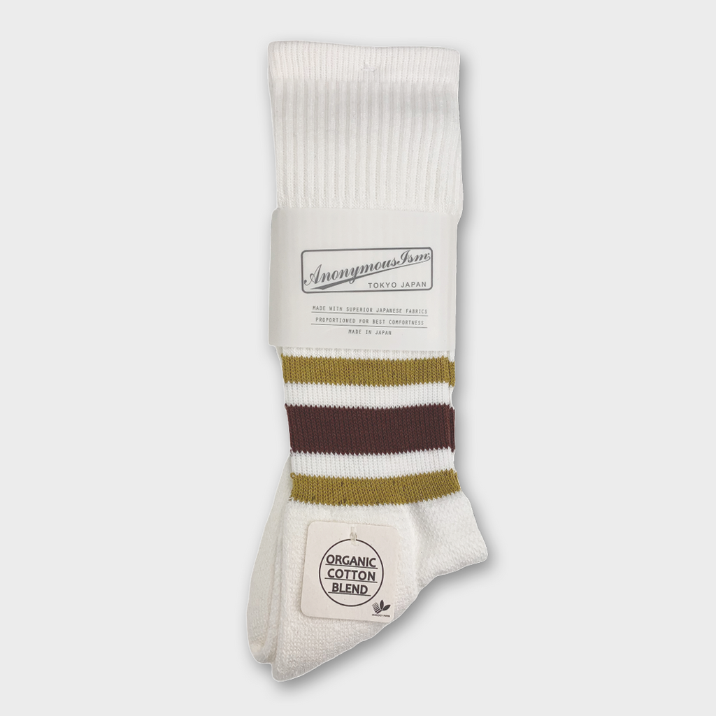Anonymous Ism Japan Organic Cotton Ankle Line Crew Socks - White / Maroon