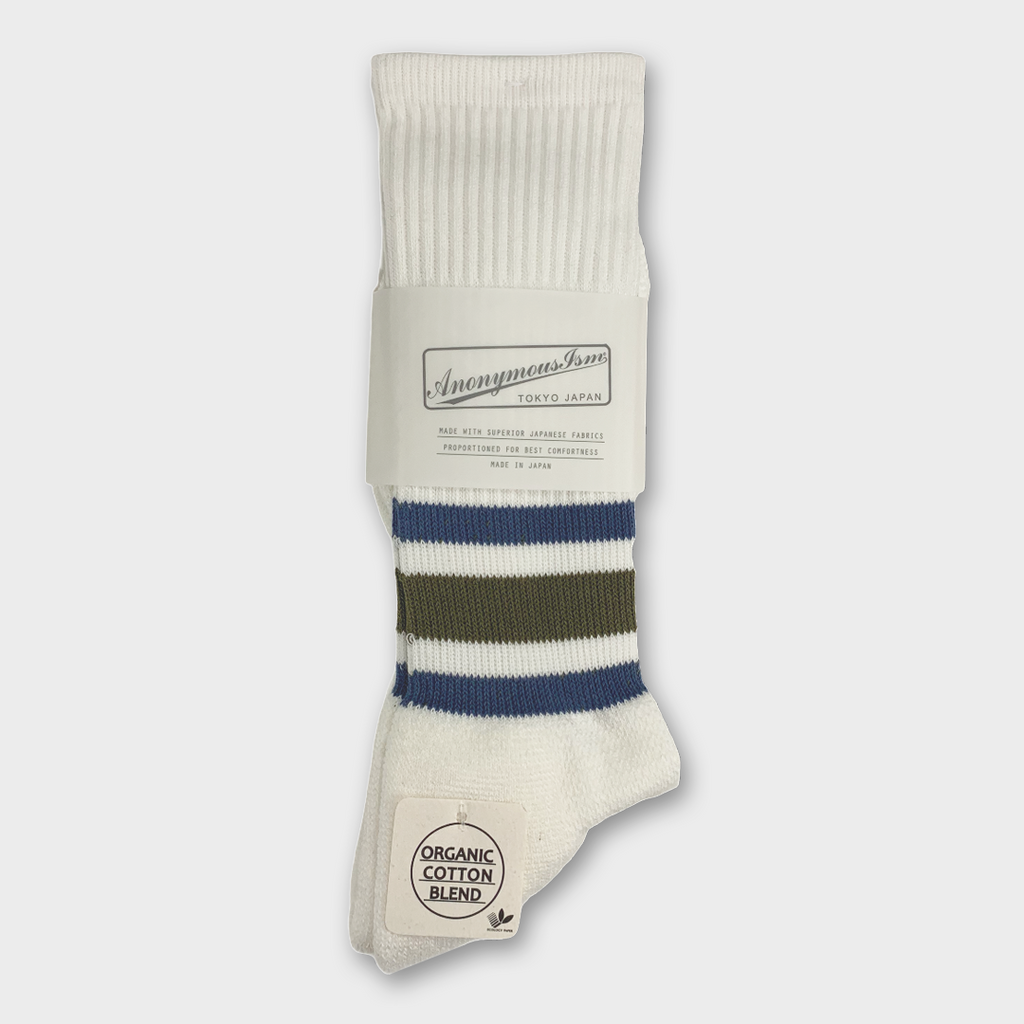 Anonymous Ism Japan Organic Cotton Ankle Line Crew Socks - White / Olive