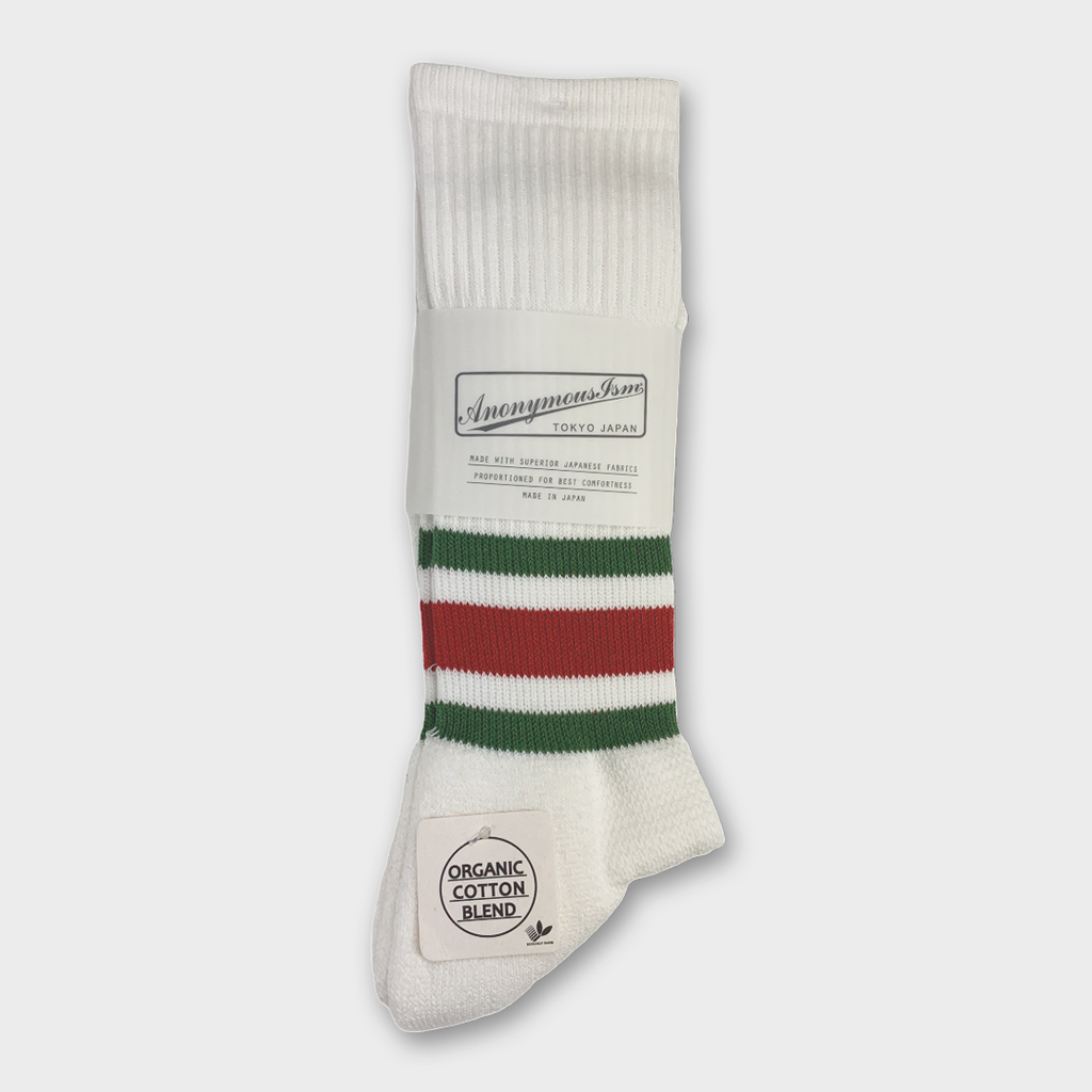Anonymous Ism Japan Organic Cotton Ankle Line Crew Socks - White / Red