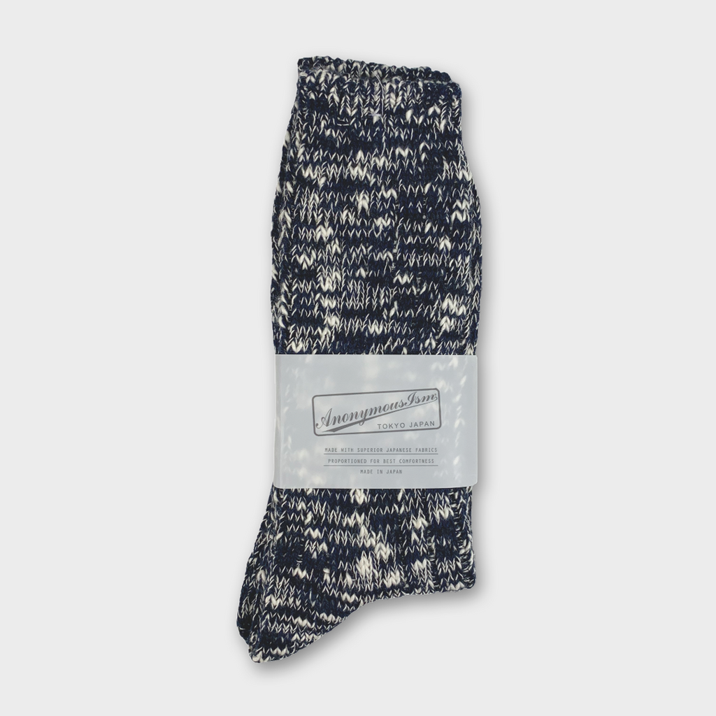 Anonymous Ism Japan Five Colour Mix Crew Socks - Navy