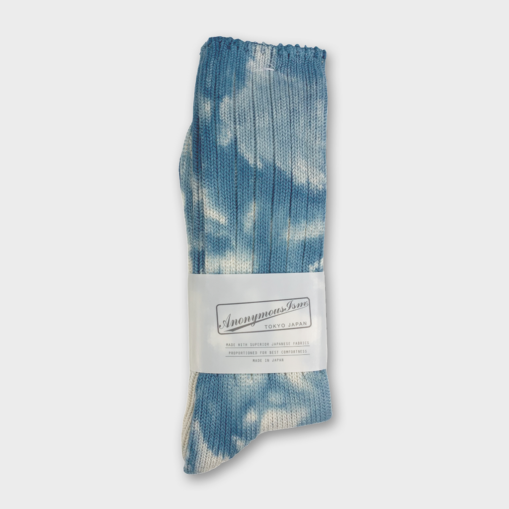 Anonymous Ism Japan Uneven Dye Crew Socks - Blue Tie Dye