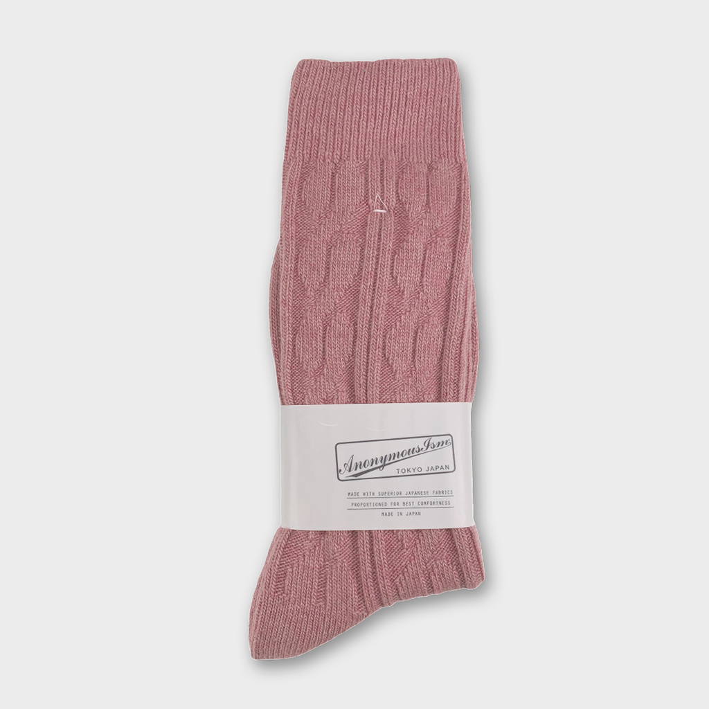 Anonymous Ism Japan Woven Pattern Crew Socks - Pink