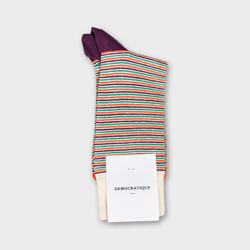 Democratique Originals Ultralight Stripes Socks - Off White, Blood Orange, Greenday & Heavy Plum