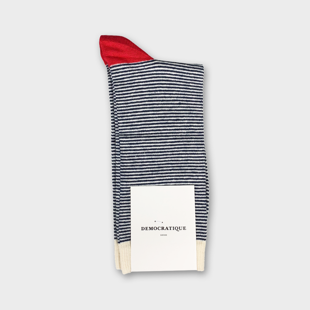 Democratique Originals Ultralight Stripes Socks - Navy, Off White & Pearl Red
