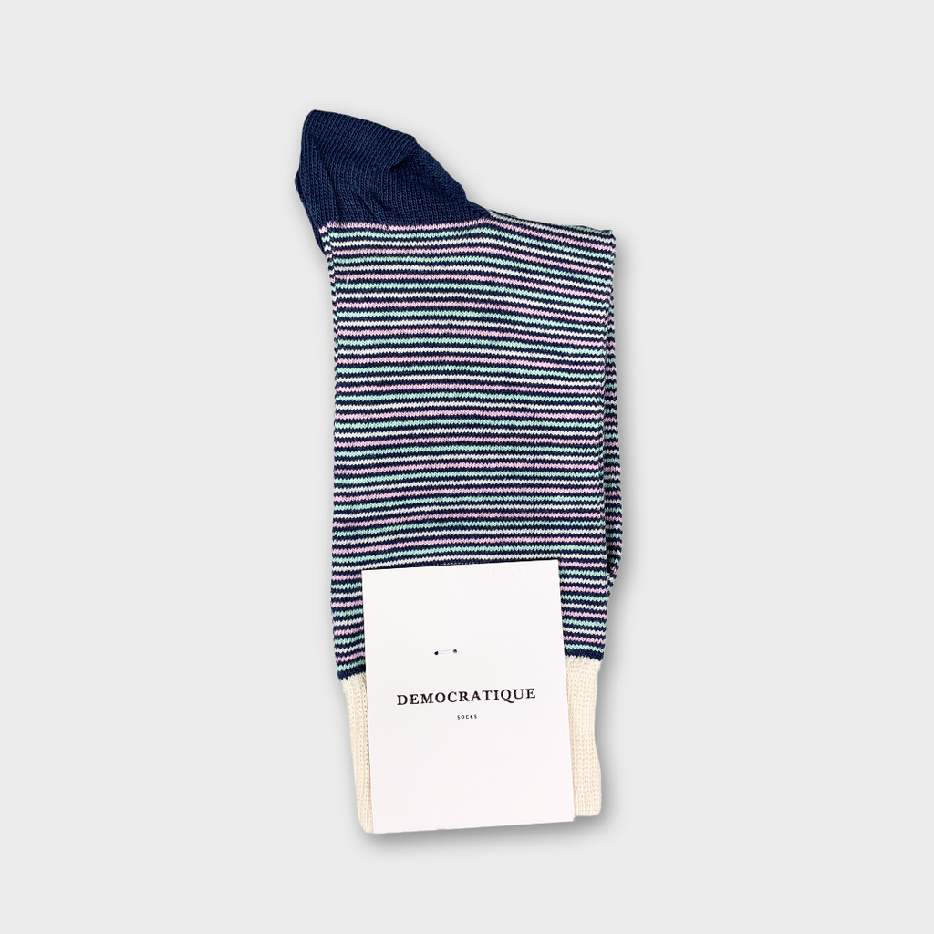 Democratique Originals Ultralight Stripes Socks - Shaded Blue, Off White, Pale Green & Pale Pink