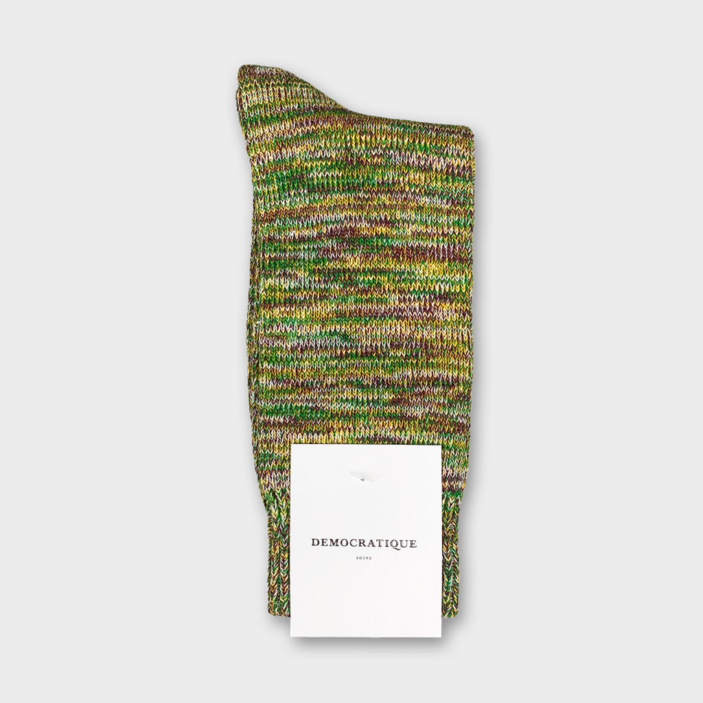 Democratique Relax Chunky Flat Knit Socks - Supermelange Hot Curry, Dark Plum, Off White & Grass Green