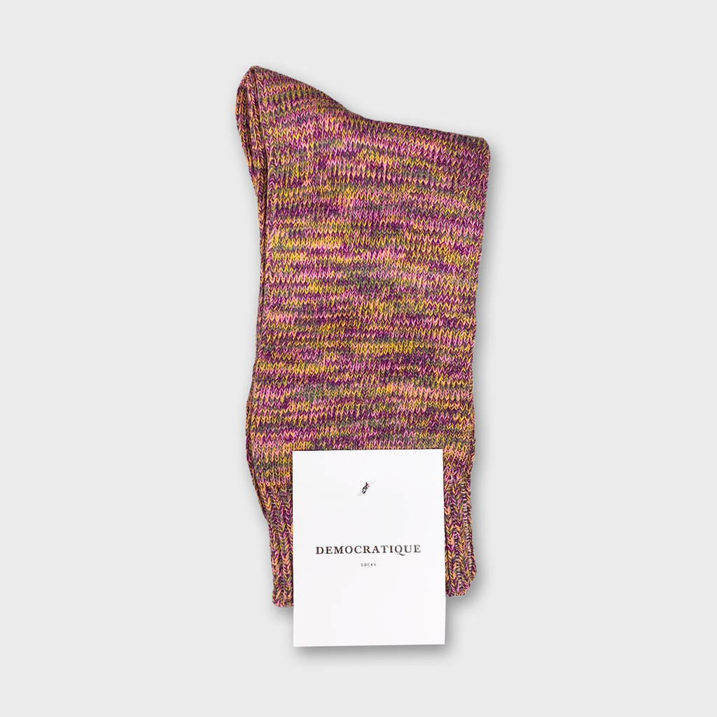 Democratique Relax Chunky Flat Knit Socks - Supermelange Violet, Pink Fluer, Army & Hot Curry