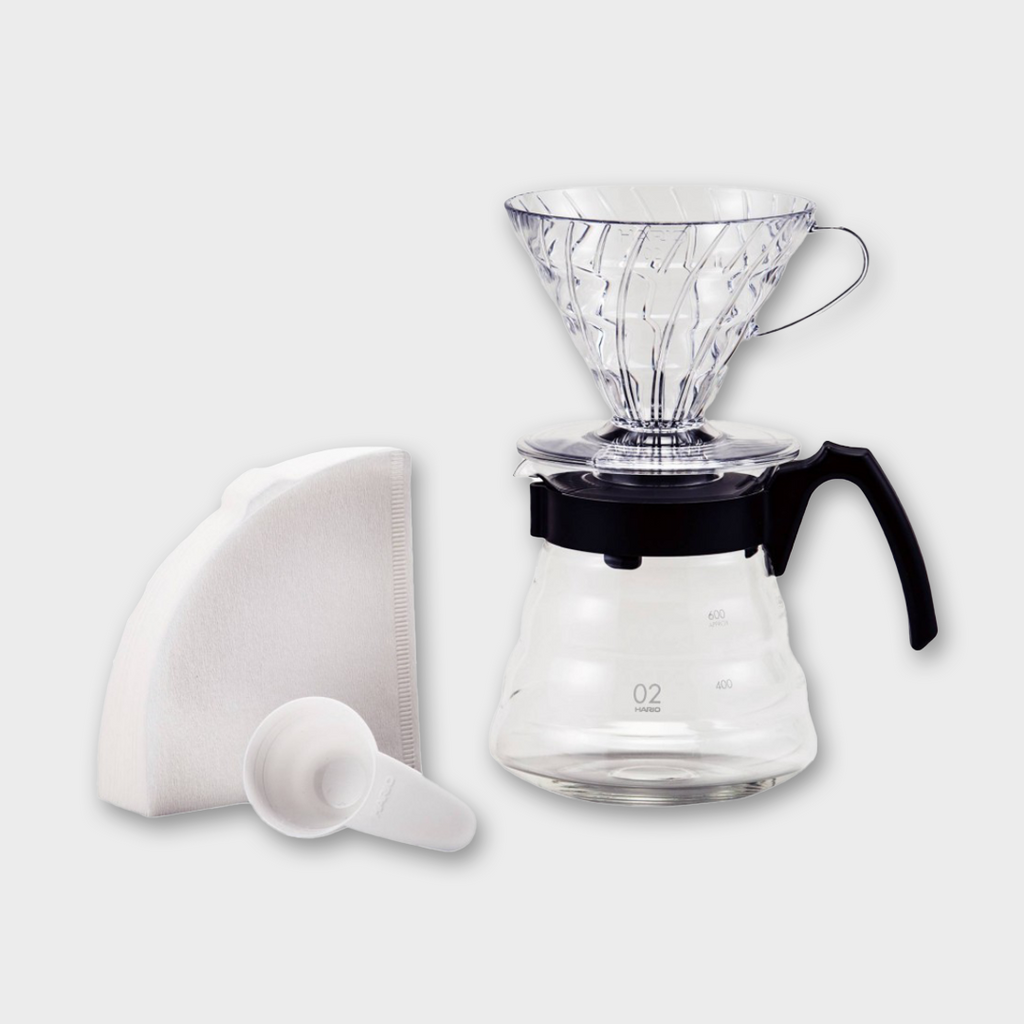 Hario V60 Coffee Pour Over Kit - Glass / Black 600ml