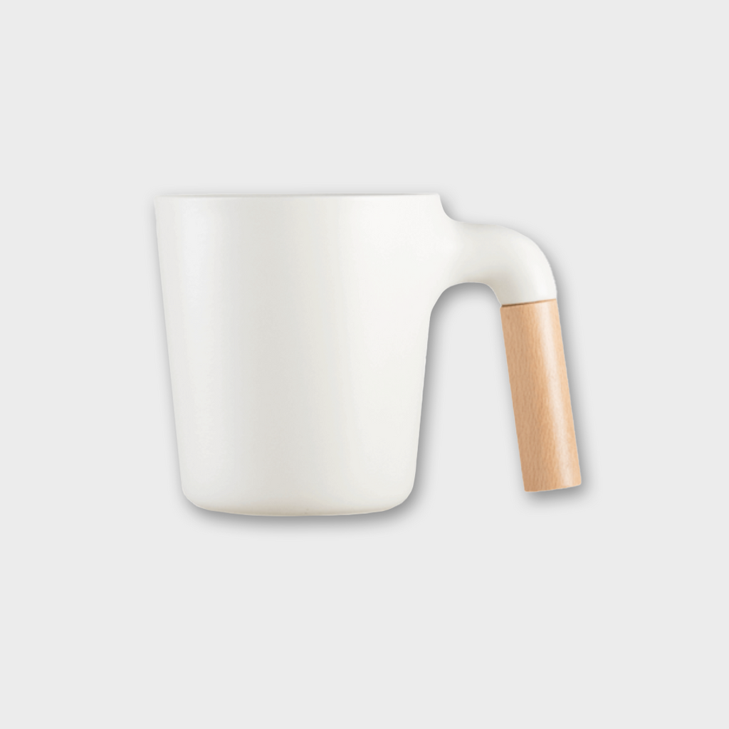 HMM Project 'Mugr' Ceramic Japanese Mug - Frost / Beech Wood