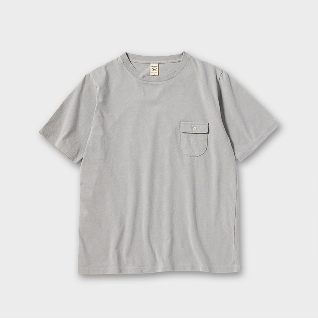 Jackman Japan Button Pocket T-Shirt - Steel Silver