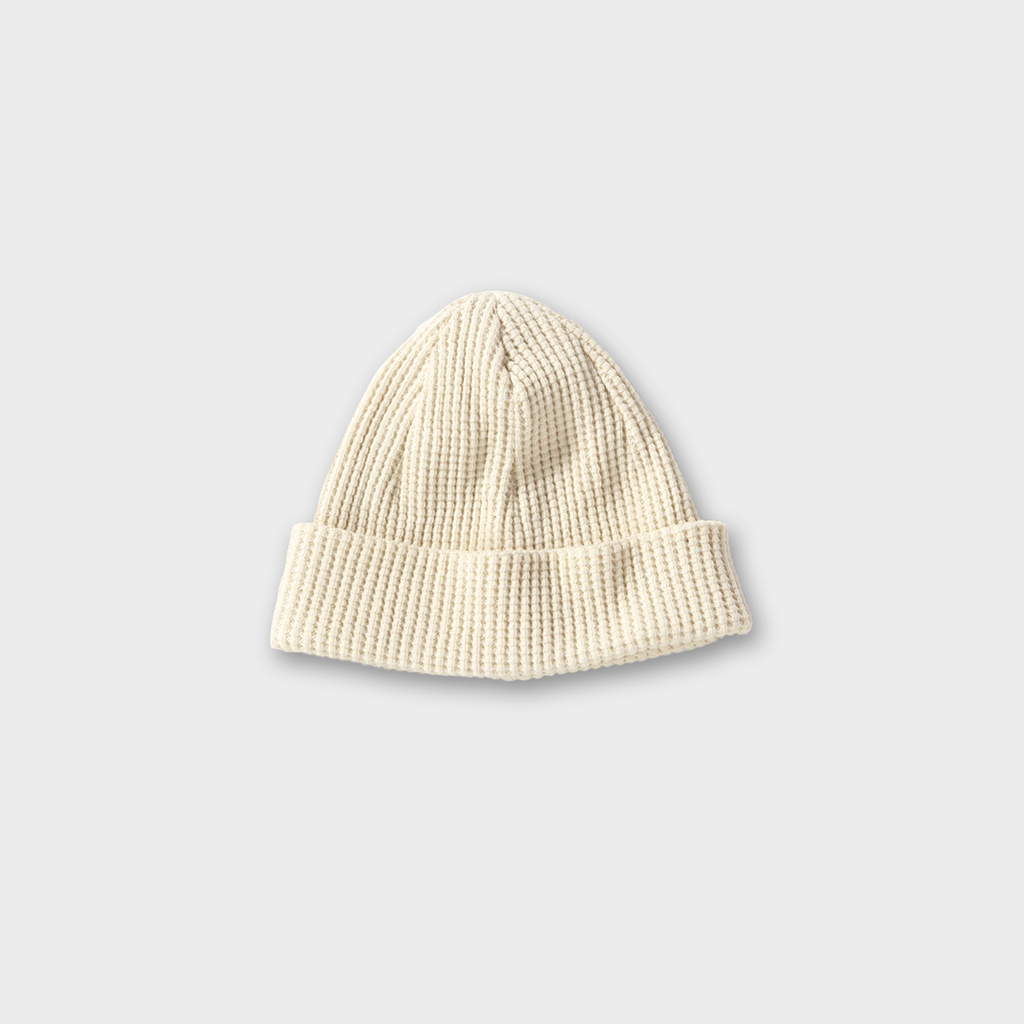 Jackman Japan Knitted Waffle Beanie Hat - Ivory