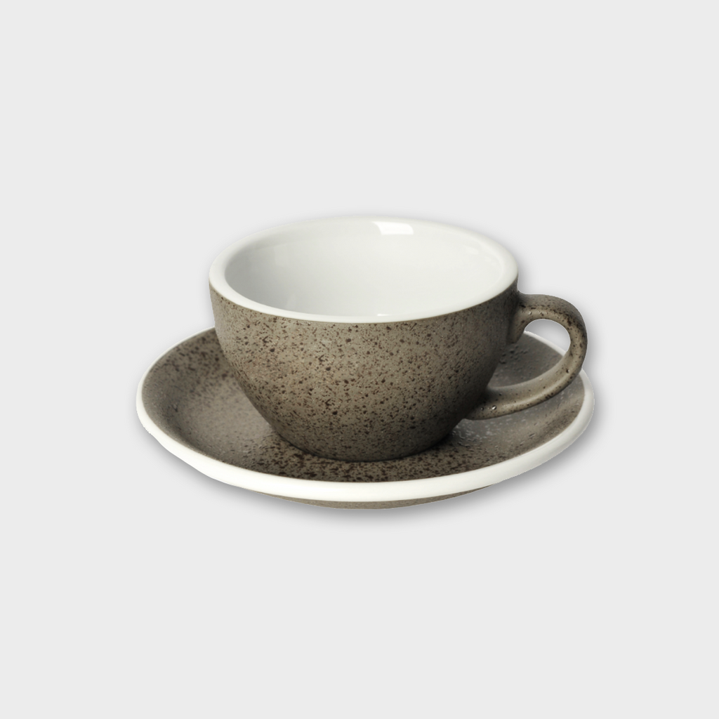 Loveramics Potters Porcelain Flat / White Cup & Saucer - Granite 150ml