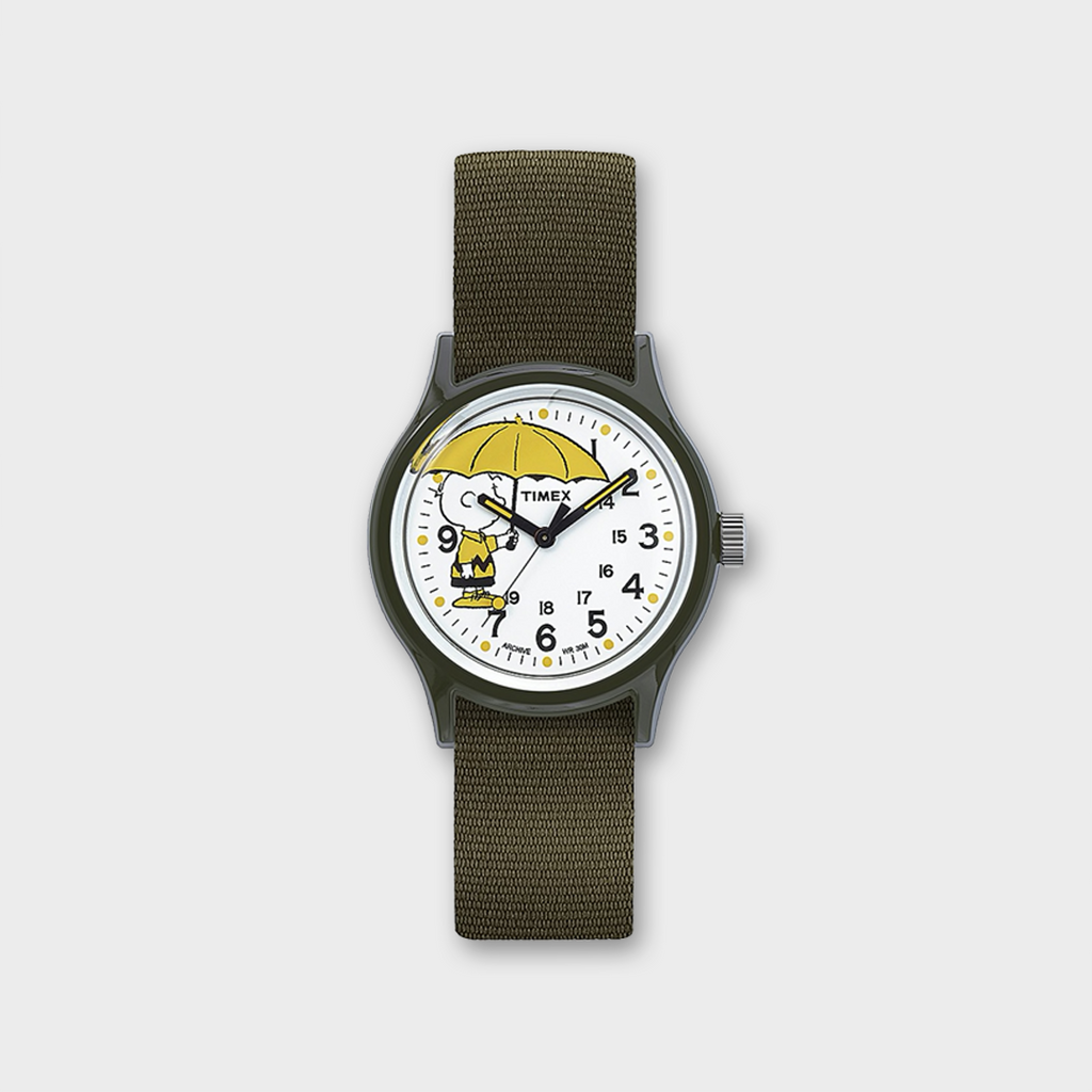 Timex MK1 X Peanuts Charlie Brown 36mm Fabric Strap Watch Box Set - Green / White